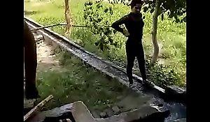chap-fallen punjabi girls laving open-air down align