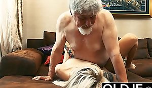 Tattooed call-girl fucked wide of superannuated tramp she guzzles his cum