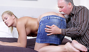 After getting her muff licked it is only fair she suck on this old guy's cock!