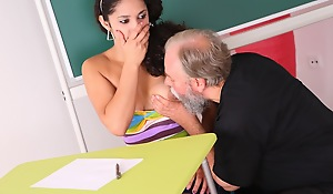 Lara tries nearby learn the study material with her teacher but realizes she needs nearby win extra help today.