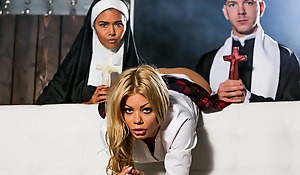 Blonde schoolgirl Riley Steele is defiant and disobedient to parish nun Dana Vespoli. Dana brings make an issue of wayward student to Father Markus Dupree for some correction. The priest pushes Riley to her knees, and she gives his big cock a reverential, ball-licking, deep-throat blowjob! This chab fucks her pretty face, and then Markus wets his dick in Sister Dana's mouth. This chab shoves it up Riley's asshole! Father Markus buttfucks Dana, and make an issue of column suck his priestly staff ass-to-mouth. The nasty anal threesome climaxes with a cum facial cumshot and kiss.