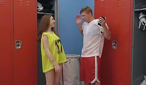 Athletic dude Oliver Flynn fucks cute chick adjacent to the locker room