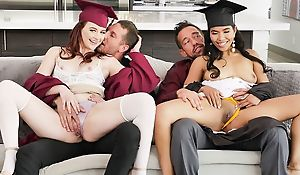 Two kinky college cuties with huge sexual appetite swapping their dads