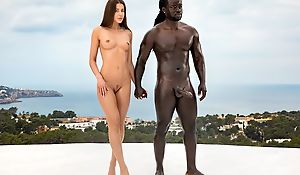 Gorgeous babe gets fucked at the end of one's tether horny black man