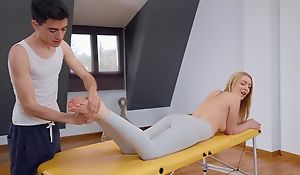 Fit blondie gets oiled roughly and fucked by her masseur