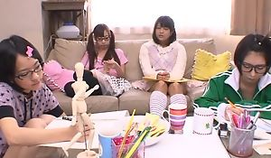 Japanese teen cuties sucking and fucking hard pecker in turn