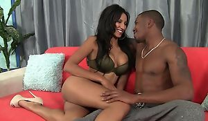 Dark-skinned damsel beside bubbly bosom enjoys intense pussy pounding