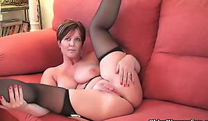 British milf Joy uncovering her big tits and hot fanny