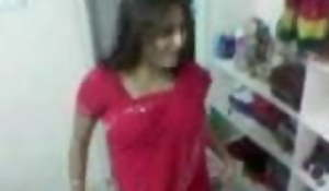 Red Saree University Girl sex with Boy Friend