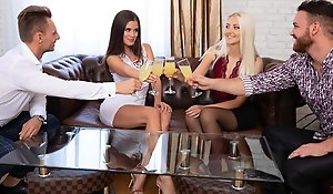 Two girls in stockings and be transferred to boys had on be transferred to same couch sort out making love SV