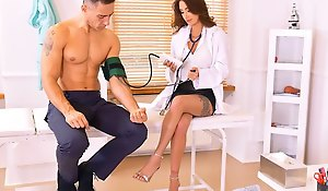 The doctor in the office section of the patient together with conned him into ho...