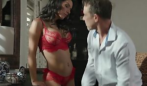 Exotic brunette in fake boobs sucks bunch of hard cocks at once