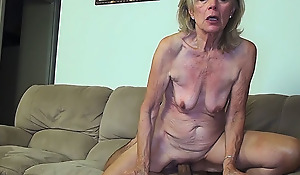 81 years old mom team-fucked by stepson