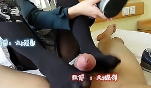 Chinese girl yon blowjob double-barrelled with footjob