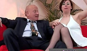 Bulky up british daughter in stockings is licked by shopkeeper