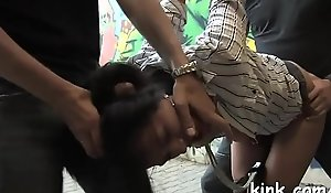Interracial vassalage coition give X alluring knockout cummings!