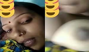Desi shire bhabhi showing her boobs on a video call