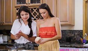 Adria Rae seduces her stepmom in the kitchen while baking