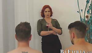 Chad Diamond plus Dante Colle threeway fuck with redhead babe