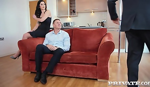 Seductive brunette, Loren Minardi is sucking horseshit while getting fucked from behind, at the same time