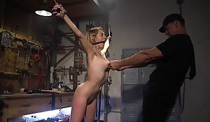 Bound sub with natural boobs gets roughly screwed by her master