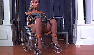 Fair-haired nourisher cherie deville devoted to gagged at hand a straitjacket increased by wheelchair heal