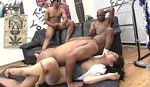 Three black men destroy the Oriental harlots pussy