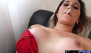 Ts babe Bellatrix smokes and strokes her erected donger