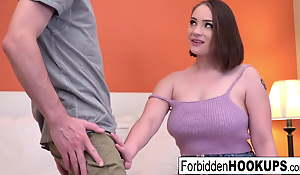 Busty babe gets banged by their way stepbrother