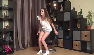 Cute little pitch-dark virgin sister Nastya Kalinina at a casting