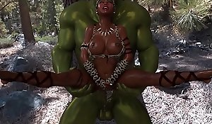 3D Savannah Queen affliction involving fuck with big ogre, which has a big flannel head