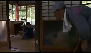 Young Japanese girl desolate at home is drilled by an pater abuser