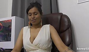 Mommy's Indian friend HornyLily flirts and pees on say no to panties be proper of you pov