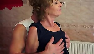 Granny anally banged damper exercising