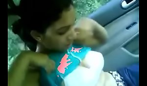 Indian wife showing boobs surrounding car