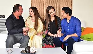 Man enjoys trio anal sex with hawt Desi bhabhi together with wife