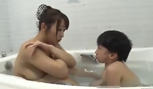 Asian busty mom with midget mini man bathroom sexy fucking