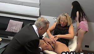 Beautiful young maid bonks rich senior couple in threesome