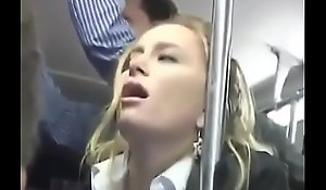 Hot Blonde Groped on a Bus