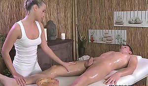 Massage Rooms Sweet sensual blonde has intense orgasm distance from big cock