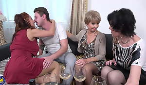 Old moms sharing lucky stepson's cock