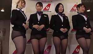 Group of Asian stewardesses getting fucked good coupled with proper